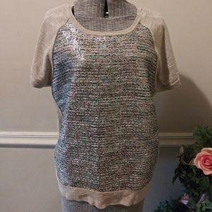 EUC J.Crew Metallic Tweed Pattern Heather Sweater